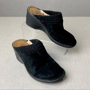 UGG Black Suede Sherling Lined Mules Shoes 5